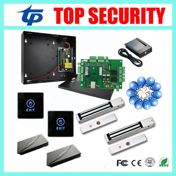 Two door access control panel TCP/IP two doors access control system+power supply box+EM lock+card reader+exit button+RFID card sdk two doors two ways input output ports 30000 user tcp ip network zk c3 200 door access control board