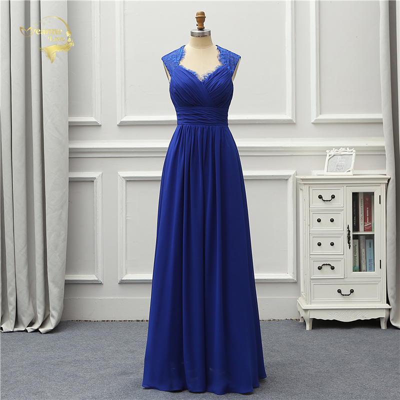 Jeanne Love Formal Long Fashion   Evening     Dress   2019 New Royal Blue Chiffon Robe De Soiree Vestido De Festa OL5244 Prom Gowns