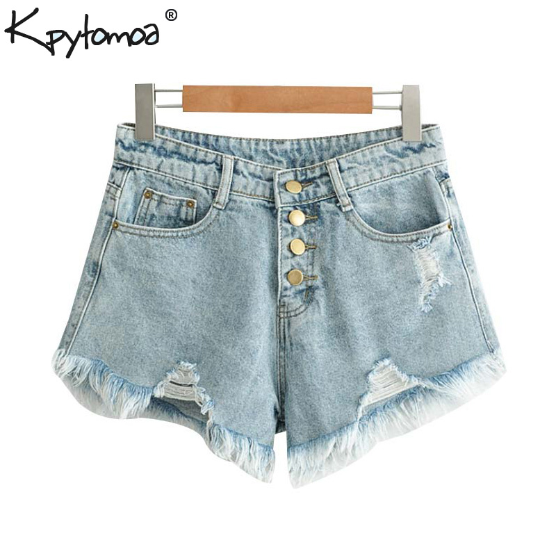 Vintage Sexy Frayed Holes Tassel Denim   Shorts   Women 2019 Fashion Pockets Buttons Fly   Short   Pants Casual Pantalones Cortos