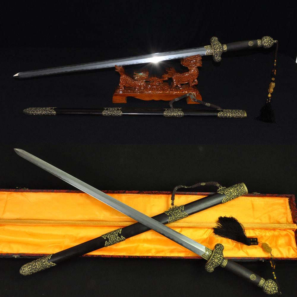 ČÍNSKÁ JIAN SWORD skládaná damašková ocelová hlína temperovaná vysoce leštěná čepel ebenová mosazná pochva FULL HAND MADE KNIFE CUSTOM