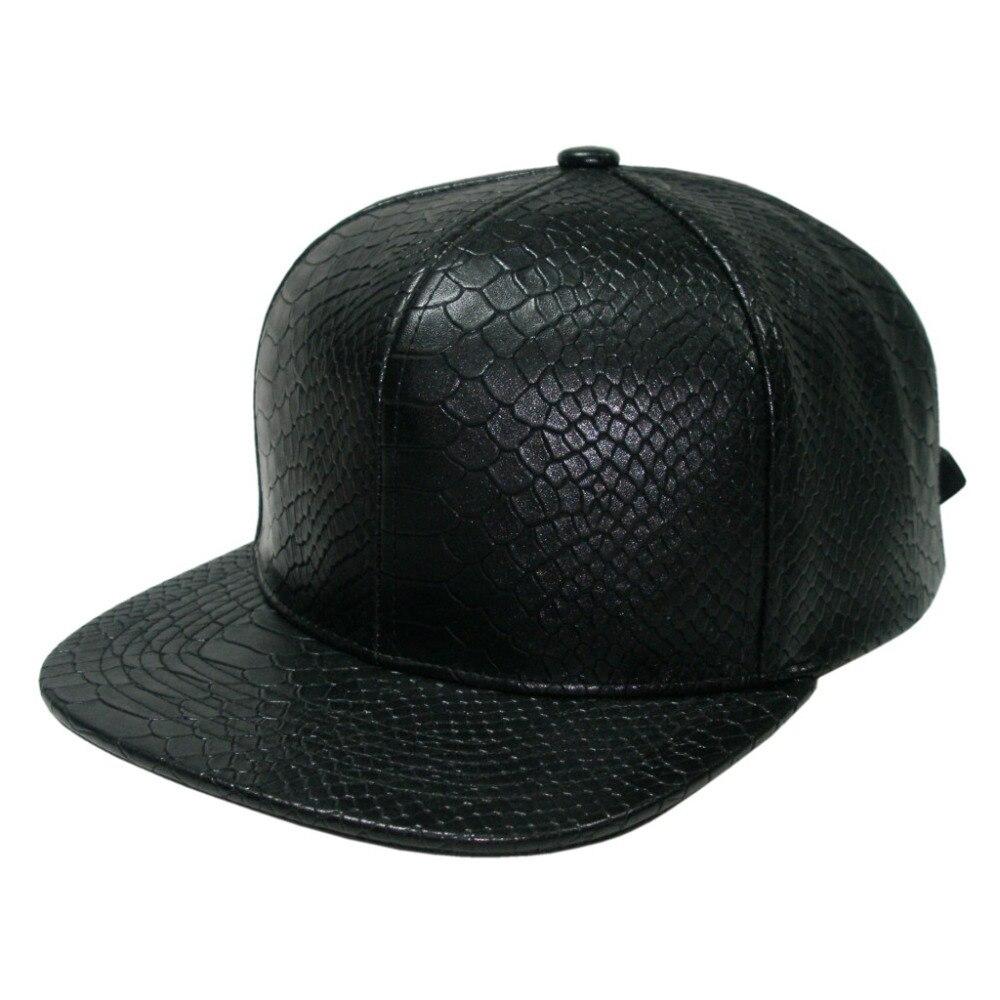 High Quality Fashion Blank Snapback Cap ForMen Snakeskin Leather Fitted Snapback  Hats Baseball Cap Black e86471fbb72