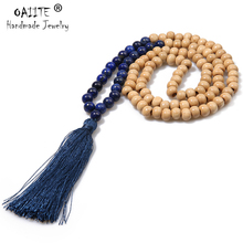 Fashion Bohemia Long Tassel Necklace Statement Natural Stone  Handmade Wooden Beads Necklaces & Pendants For Women Men Gift luna chiao fashion ins popular round natural stone fan fringed cotton tassel necklaces pendants for women