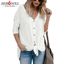 a5cee088 SEBOWEL Women Long Sleeve Knit Blouse Tops Autumn Women Cardigan Waffle  Knit Tunic Blouse Female Loose