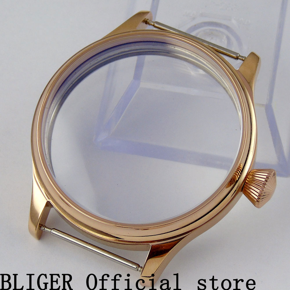 BLIGER 44MM Stainless Steel Rose Gold Watch Case Suitable For ETA 6497 6498 Hand Winding Movement C36 retro style eagle claw shape alloy women s finger ring