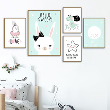 Kids Wall Pictures Nordic Poster Cartoon Art Canvas Prints Moon Rabbit Painting For Children Unframed