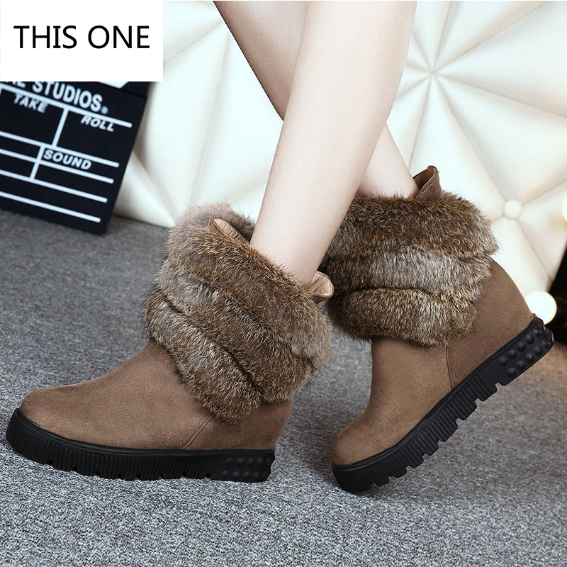 Hot sell 100% natural Rabbit fur snow boots women short boots/winter warm flat bottomed large boots/free shipping Size 35-43 round flat bottomed sweet bowknot short boots