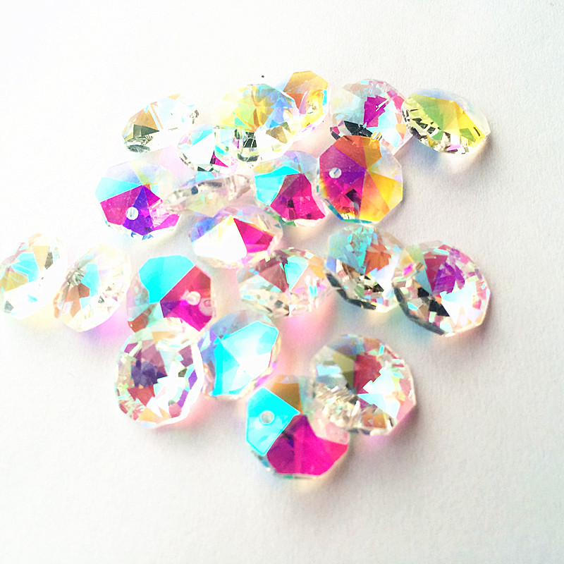 200pcs Clear AB Octagonal Bead Chandelier K9 Crystal Prisms Part DIY Curtain Material Home Decorate Accessories Party Ornaments