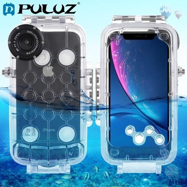 PULUZ עבור iPhone XS מקס/XR/XS מתחת למים דיור 40m/130ft צלילה טלפון מגן מקרה גלישה שחייה שנורקל תמונה וידאו