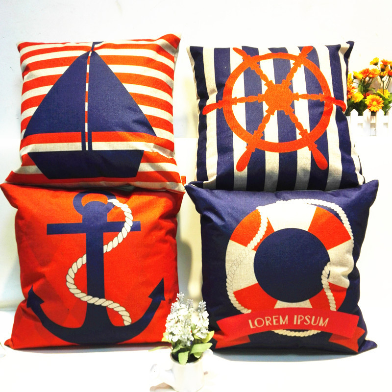 Mediterranean Style Cotton Linen Cushion Cover Navigation Anchors&Boat Pattern Pillow Cover Pillowcase