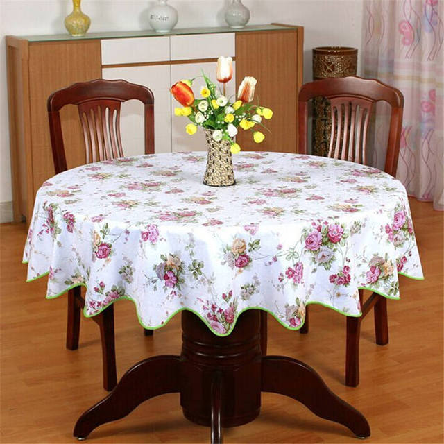 Europe Pastoral Plastic Table Cloth Red Rose Table Cover PVC Wave Edge  Tablecloth Round Waterproof And