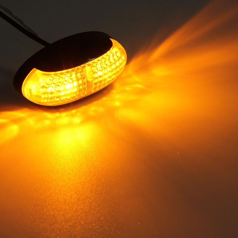 2 Pcs Oval 12V/24V <font><b>LED</b></font> Side Marker Light Amber Clearance Light 2.5&#8243; Waterproof <font><b>Signal</b></font> Light