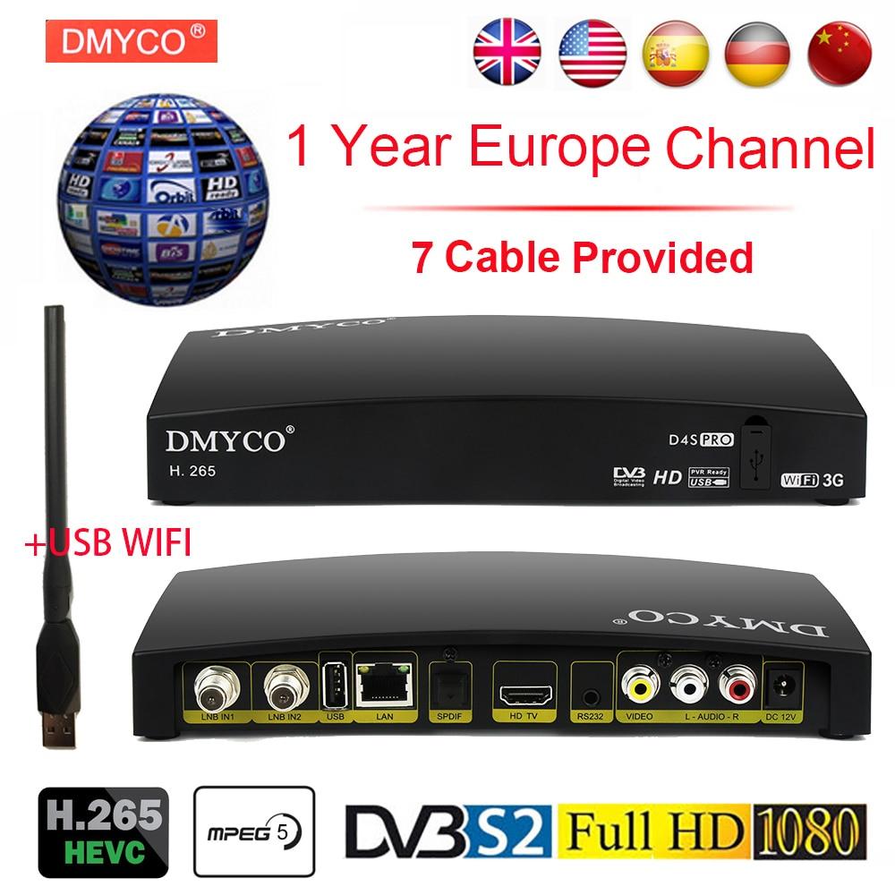 Spain Satellite TV Receiver Digital HD DVB S2 Receptor 1 Year Europe Channel Support H 265