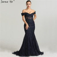 Sexy Sheer Corset Navy Blue Off Shoulder Mermaid Evening Dresses Crystal Beaded Long Formal Dress Party Robe De Soiree BLA6446