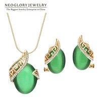 Neoglory Czech Rhinestone 14K Gold Plated Opal Jewelry Sets For Women Female Vintage Necklace Earrings 2013