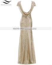 Solovedress New In Stock Cap Sleeves Champagne Mermaid Sequined Bridesmaid Dress 2017 Real Formal vestido de dama de honra B006
