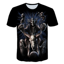 Popular Riding a motorcycle Skull 3D Print t shirt Men Women tshirt Su