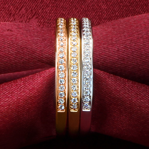 THREEMAN Semi Mount Band Wedding Ring for Women Three Combined