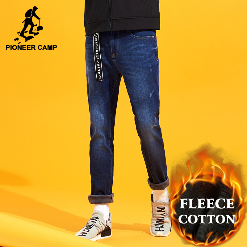 цены  Pioneer Camp winter warm fleece jeans men brand-clothing straight dark blue thicken denim pants male quality trousers ANZ710004