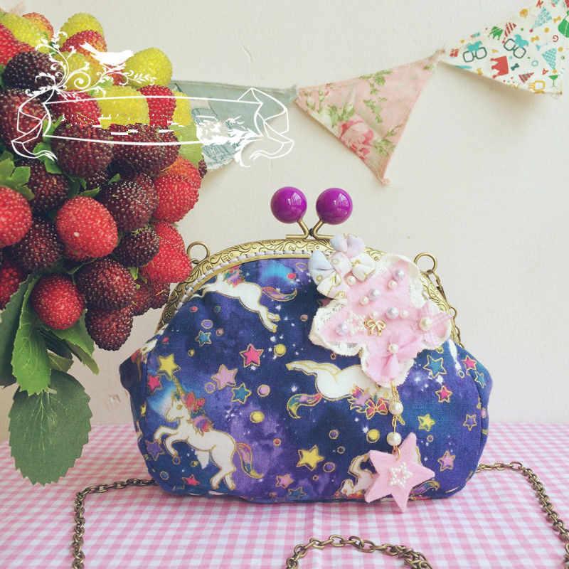 Шоколадная женщина сладкий Единорог сумка «лолита» Kawaii бантом принцесса сумка ручной работы подарок