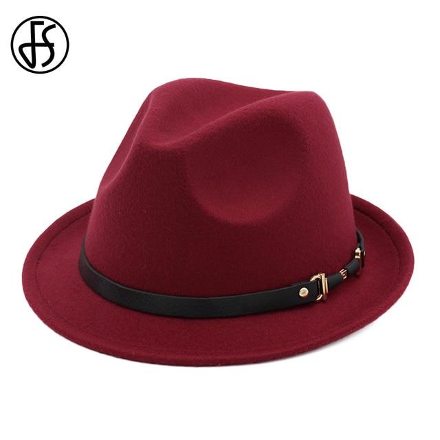 5050e2b62d2 FS Fall Cotton Wine Red Black Wide Brim Felt Fedora Hat Men Top Jazz Cap  Vintage