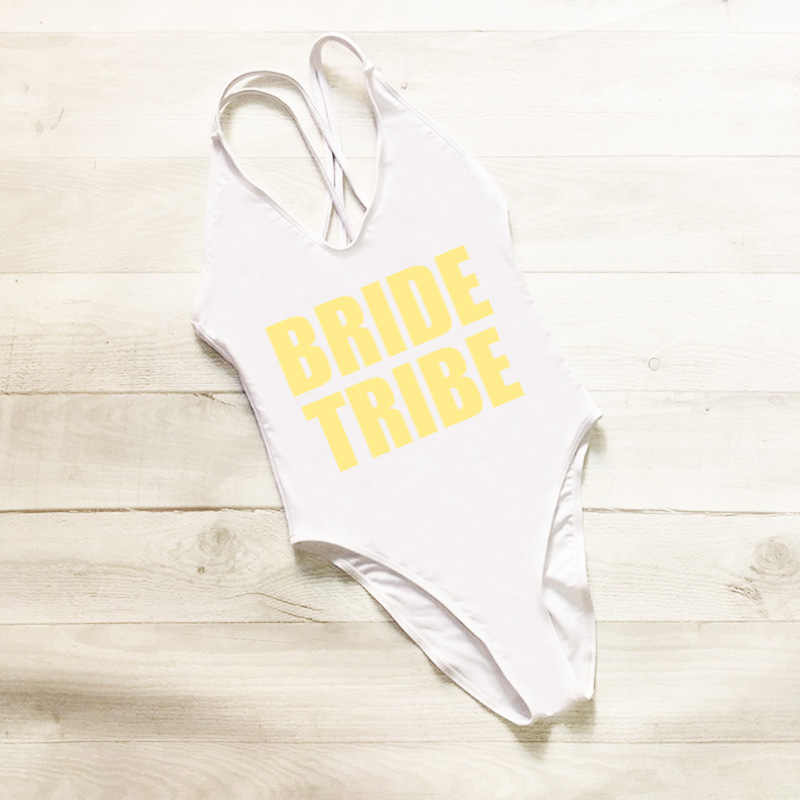 Cross Back One Piece Swimsuit BRIDE TRIBE Letter Print Plus Size Swimwear Women Black mayo Sexy Bodysuit monokini Swim Suit Gold