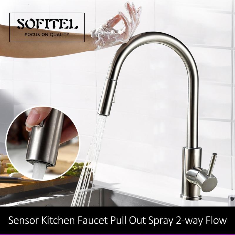 quyanre wanfan frap stainless steel sensor kitchen faucet pull out spray faucet dual function single handle mixer tao kitchen faucet2