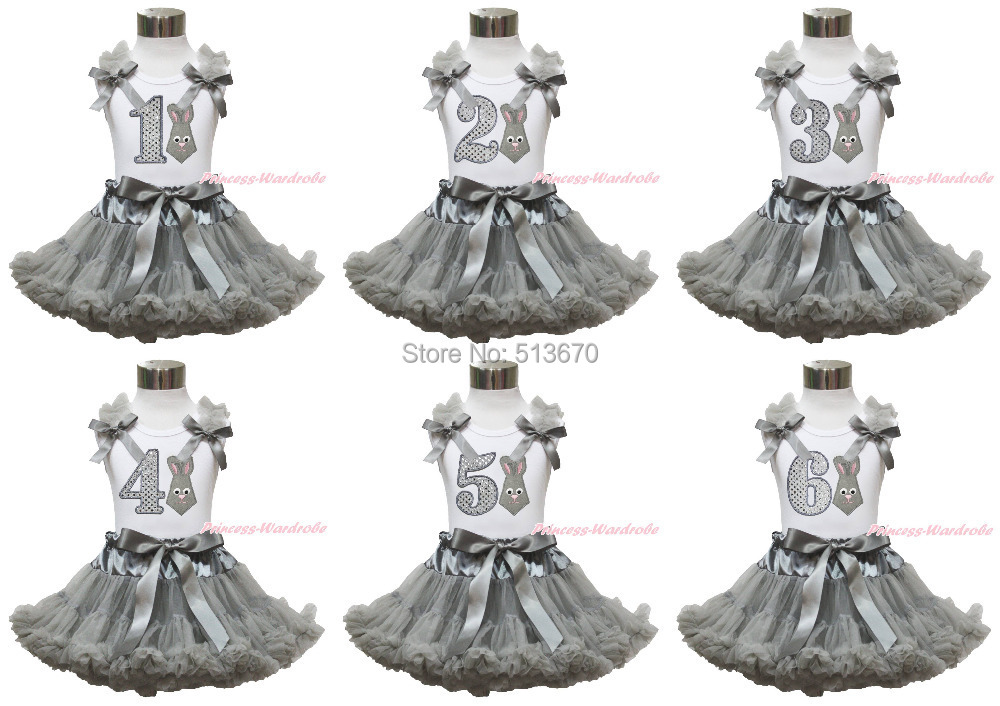 Easter Gray Bunny Neckerchief 1ST 2ND 3RD 4TH 5TH 6TH Birthday White Top Skirt 1-8Y MAPSA0419 агхора 2 кундалини 4 издание роберт свобода isbn 978 5 903851 83 6