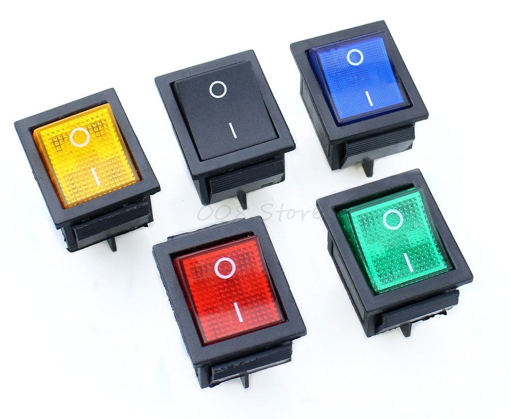 5Pcs Latching Rocker Switch Power Switch I/O 4 Pins with Light 16A 250VAC 20A 125VAC KCD45Pcs Latching Rocker Switch Power Switch I/O 4 Pins with Light 16A 250VAC 20A 125VAC KCD4