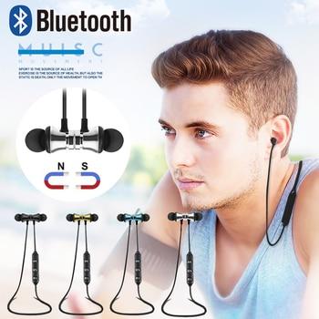Magnetic Wireless Bluetooth Earphone Bass Stereo Headset Sport Running In-ear Sweatproof Headphone With Mic Earpiece magnetic attraction bluetooth earphone headset waterproof sports 4.2