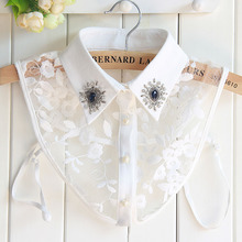 Fashion Korean Women Detachable Collars Diamond Crystal Pearls Cowboy Shirt Sweater Fake Collar