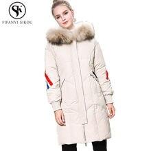 Glänzende Frauen Weiße Ente Daunenmantel Weibliche Daunenjacke Winter Mode Natürliche Pelzkragen Mit Kapuze Damen Warme Dicke Jacken 2019 NEUE