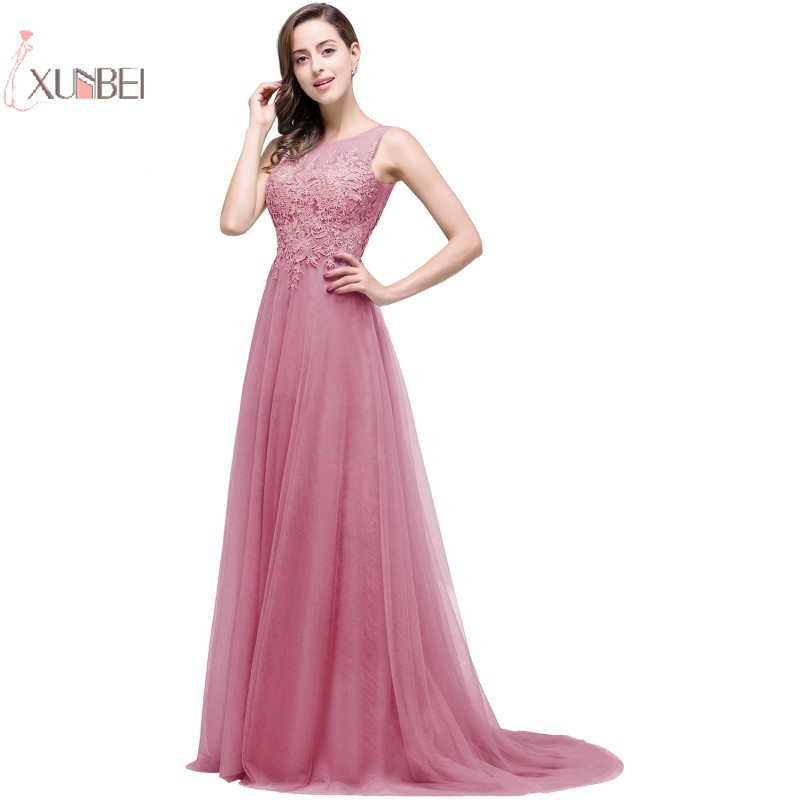 Rose élégant longues robes de bal 2019 Tulle sans manches Applique robe de bal robe de soirée Gala nouveau