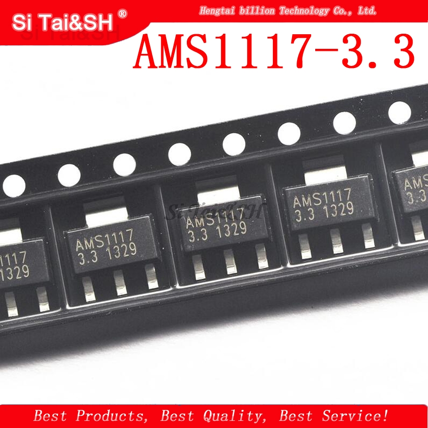 50PCS/LOT AMS1117 AMS1117-3.3  SOT223 Patch  3.3V Voltage Regulator IC Large Current Linear Voltage Step-down IC