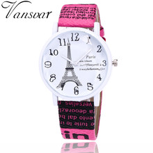 Vansvar Brand Fashion USA Flag And Eiffel Tower Watch Casual Women Dress Watches Vintage Leather Quartz Watches Drop Shipping