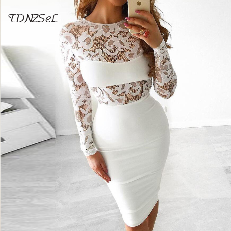 90f04b6f7b sexy white lace dress mesh women elegant long sleeve black see through  pencil dresses perspective patchwork slim party bodycon