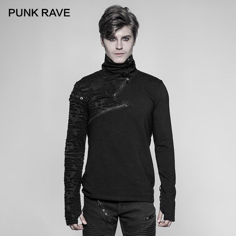 PUNK RAVE New Punk High Collar Comfortable T Shirt Rock Gothic Personality Casual Men S Shaped Long Zipper Cool Street Shirt