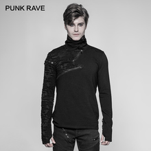 "PUNK RAVE New Punk High Collar Comfortable T Shirt Rock Gothic Personality Casual Men ""S"" Shaped Long Zipper Cool Street Shirt"