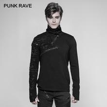 """PUNK RAVE ใหม่ Punk สูงสบายเสื้อยืด Rock Gothic บุคลิกภาพผู้ชายแบบสบายๆ """"  รูปซิปยาว cool Street เสื้อ"""