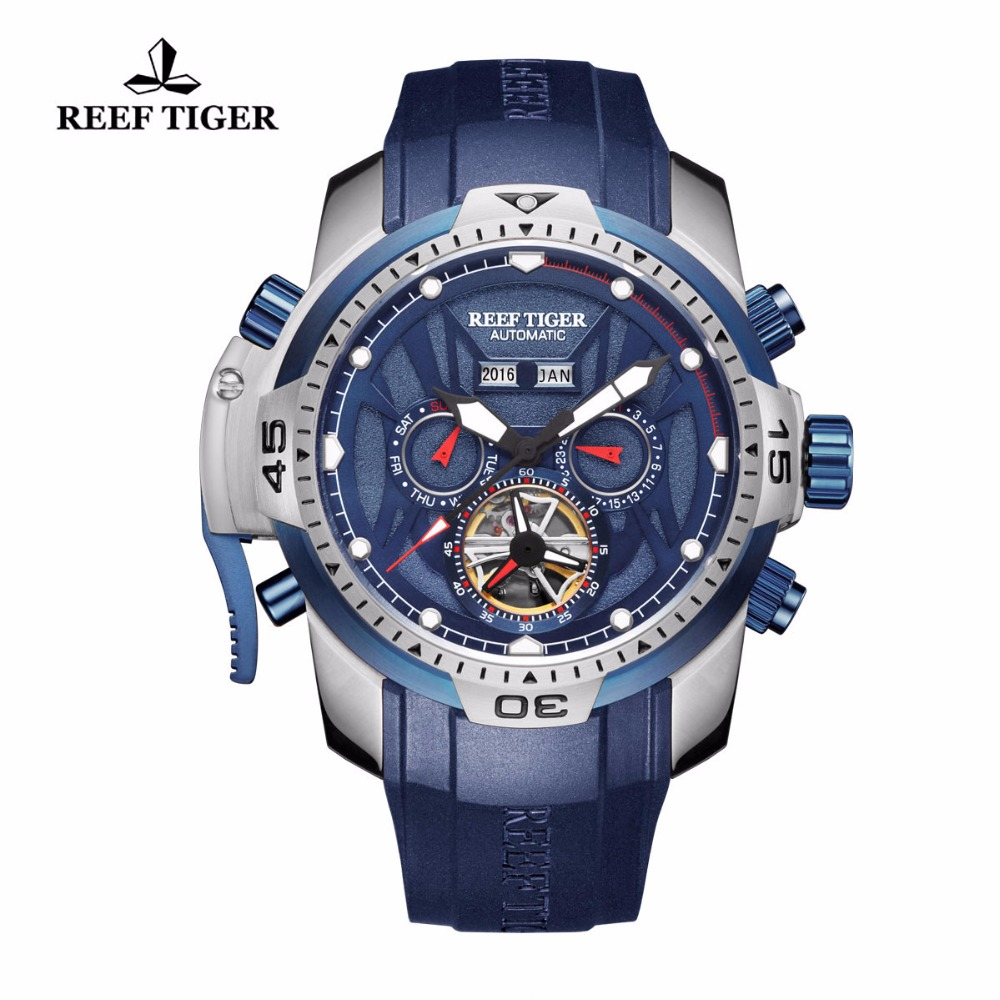 Reef Tiger/RT Luminous Casual Watches Perpetual Calendar Rubber Strap Blue Dial Watches Automatic Sport Watches RGA3532Reef Tiger/RT Luminous Casual Watches Perpetual Calendar Rubber Strap Blue Dial Watches Automatic Sport Watches RGA3532