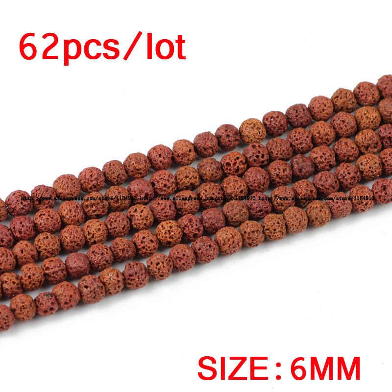 JHNBY ブラウン溶岩天然石ビーズ火山岩トップ品質 4/6/8/10/12 ミリメートルラウンドのためにブレスレット DIY