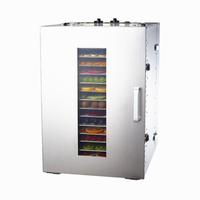 1 Piece 16 Trays Temperature Time Control Stainless Steel Fruit Dehydrator Machine Dryer For Fruits Vegetable