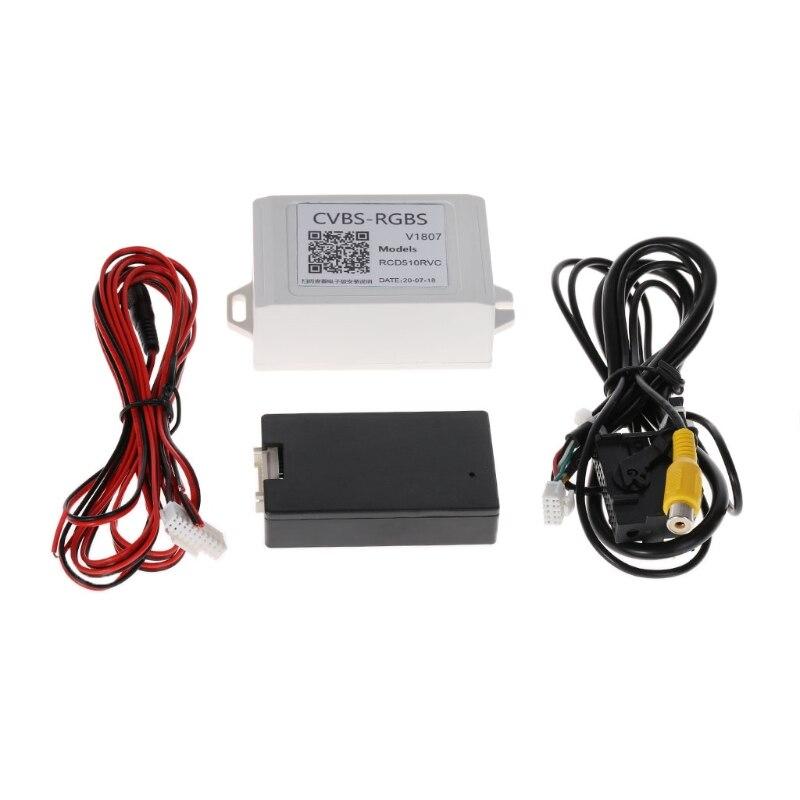 RGB Para Conversor Adaptador AV De Backup Câmera Retrovisor do carro Para VW Volkswagen RCD510