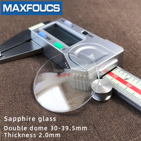 Watch glass Anti scratch sapphire Double dome Thick 2.0 mm diameter 30 mm to 39.5 mm