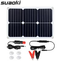 Suaoki 18W 18V Solar Panel Power Car Battery Charger with Cigarette Lighter Plug, Battery Charging Clip Line, Suction Cups