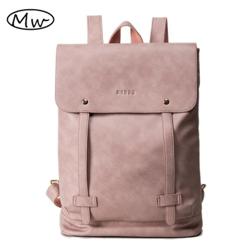 Simple fashion soft PU women leather backpack school bags for teenager girls double belt students laptop bag backpack Mochila one2 design colorful 600d polyester school bag laptop backpack ice cream for university students women man teenager boys girls