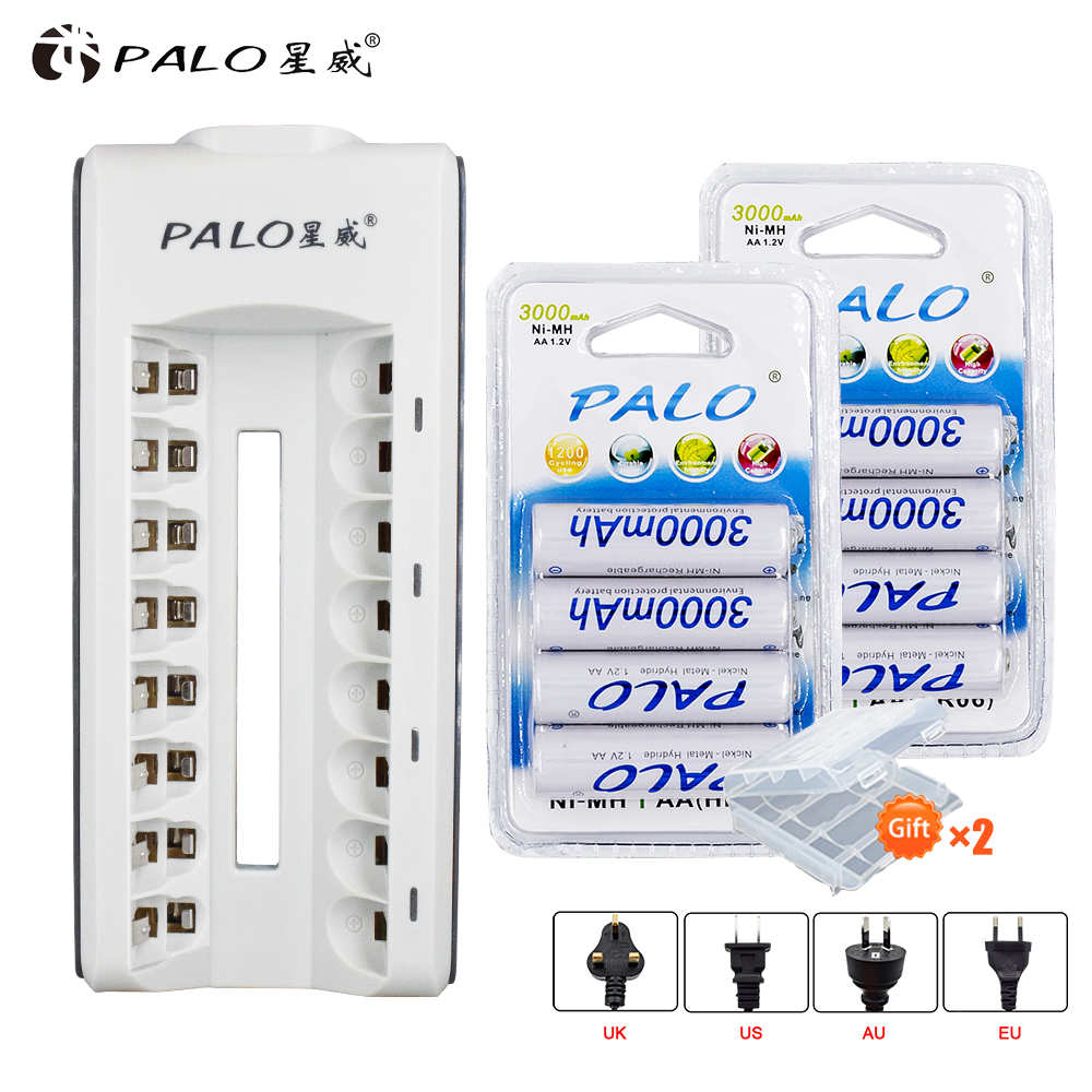 8Pcs PALO NIMH AA Rechargeable Battery aa 3000mAh 1.2V Batteries With Charger for AA AAA NIMH NICD 1.2V batteria batteries8Pcs PALO NIMH AA Rechargeable Battery aa 3000mAh 1.2V Batteries With Charger for AA AAA NIMH NICD 1.2V batteria batteries