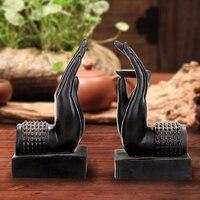 Handmade Black Creative Vintage Buddha S Hand Decorative Book Ends Bookends Book Holder Handicraft Ornaments Home