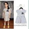 Ins 2017 bobo choses stripe vestido roupas de bebê roupas de menina crianças tira camiseta de algodão meninas vestidos vestidos vetement vestido para