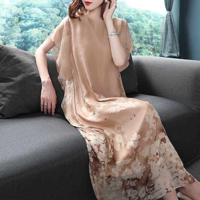 Summer New Style 3 Colors Silk Printing Dress Women's O-Neck Print Loose Temperament A-Line Soft Cool Fashion Long Dress XXXL