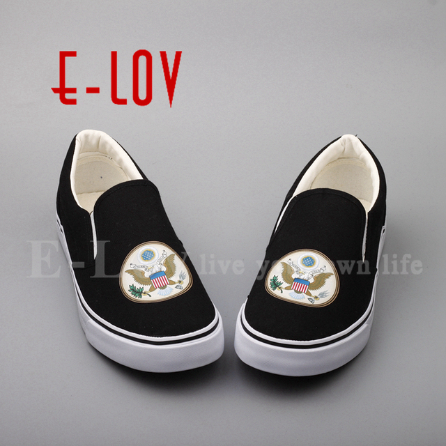 New Printed USA American Flag Canvas Shoes National Emblem of United States  Stars Stripes Casual Shoes Souvenir Free Shipping-in Women's Flats from